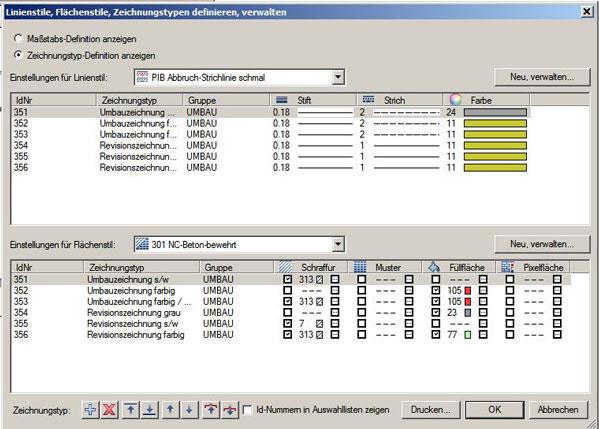 IBD Planungsdaten Umbau: Vordefinierte Zeichungstypen