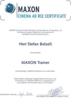 Zertifikat Maxon certified Partner