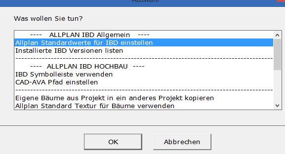 Assistent IBD Planungsdaten Umbau: Allplan Standardwerte einstellen