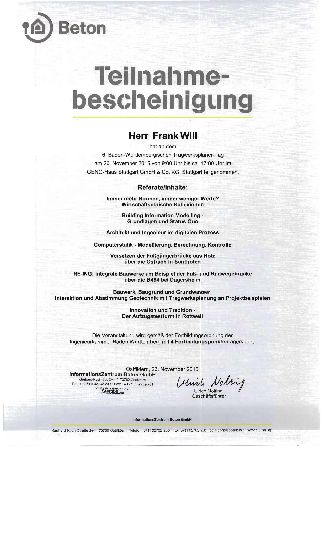 Zertifikat Tragwerksplanertag