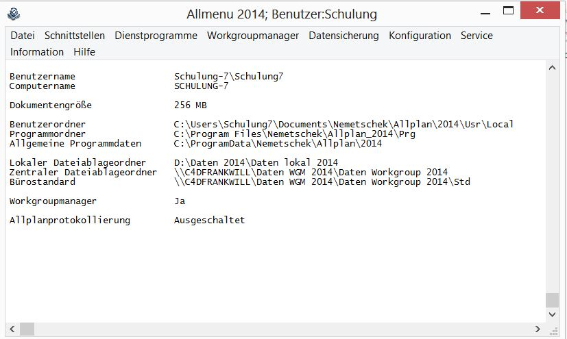Allplan 2014 Workgroup Manager: Check der Allmenü Datenpfade