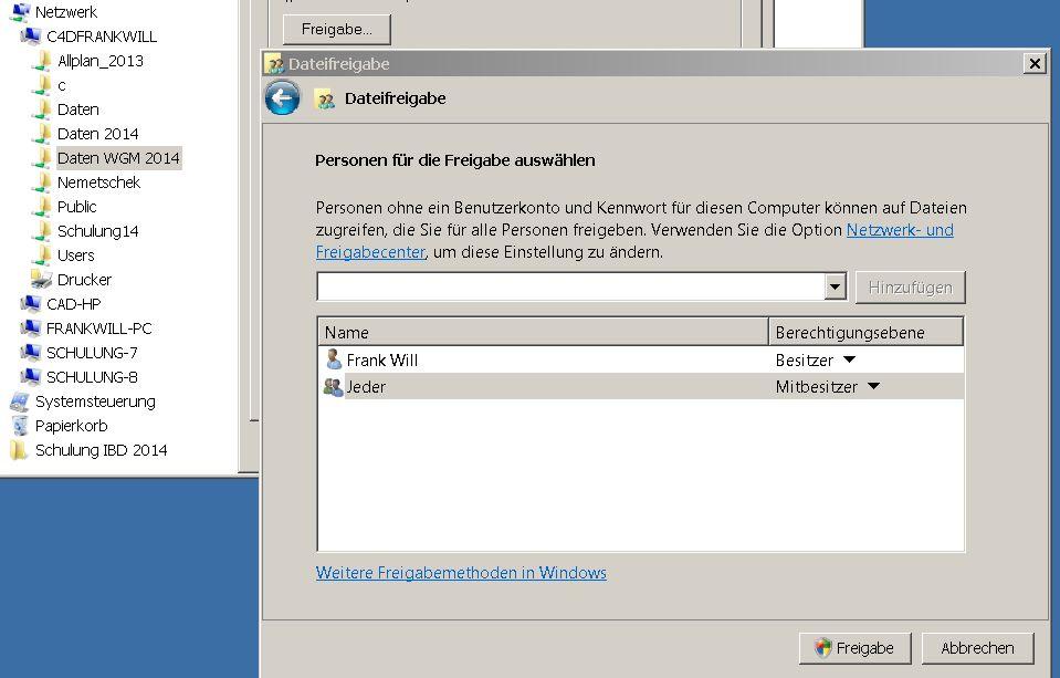 Allplan 2014 Workgroup Manager Rechteverwaltung unter Windows