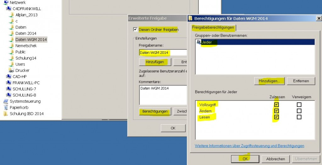 Allplan 2014 Workgroup Manager Ordnerfreigabe unter Windows