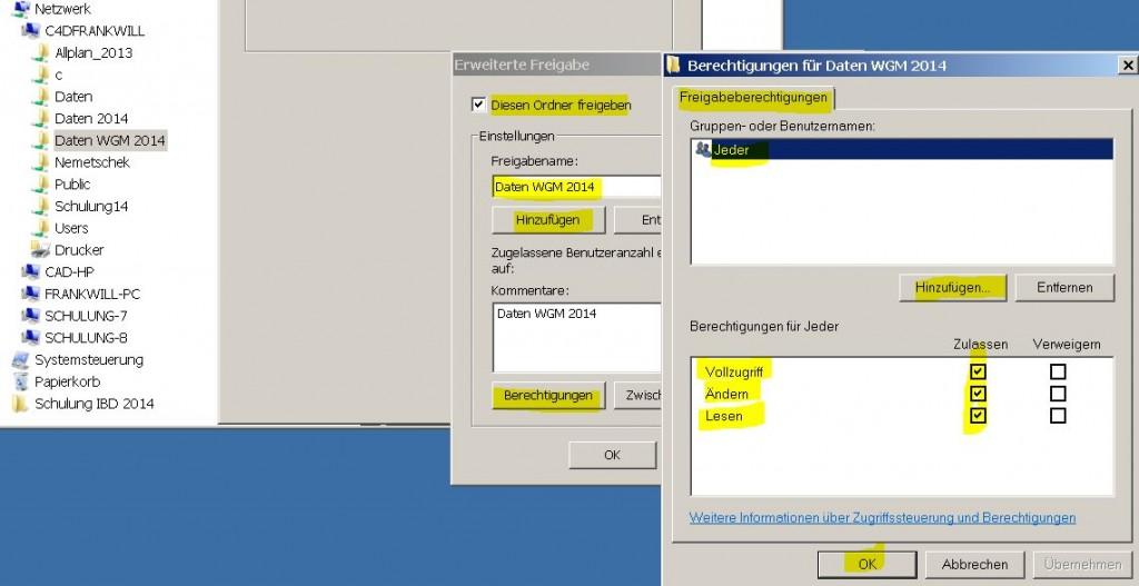 Allplan 2014 Workgroup Manager Ordnerfreigabe unter Windows