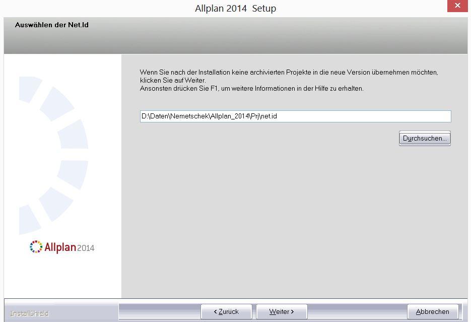Allplan 2014 Workgroup Manager: Archivierte Projekte NETID
