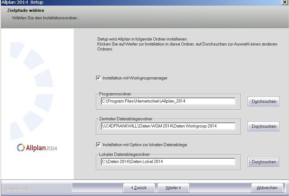 Lokale Dateiablage Allplan 2014 Workgroup Manager