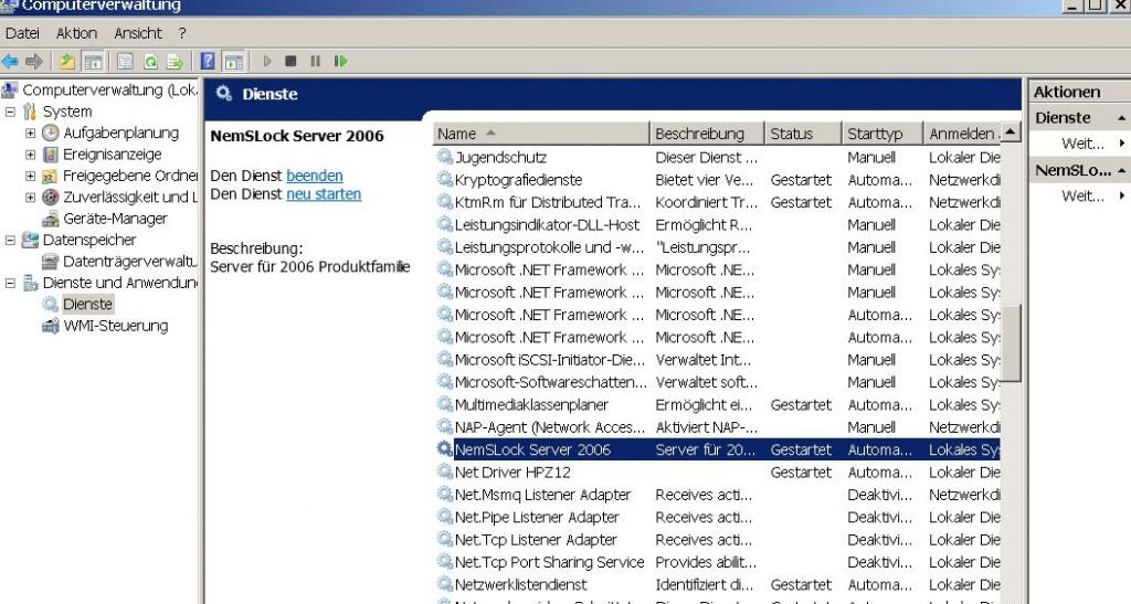 NemSLock-Lizenzserver Nemetschek Allplan: Lizenzserver Dienst beenden