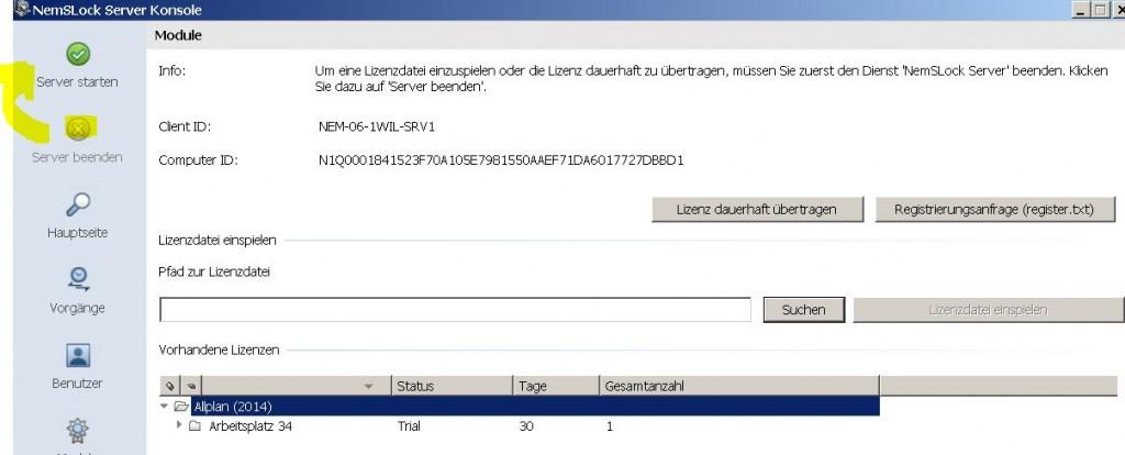 NemSLock-Lizenzserver Nemetschek Allplan: Dienst am Lizenzserver beenden