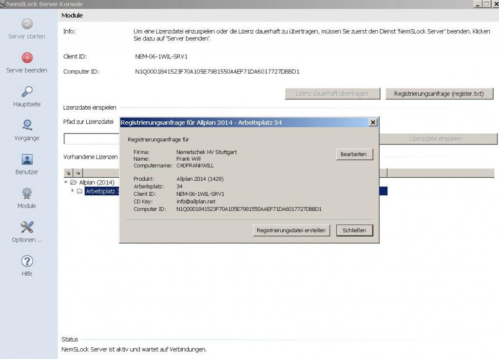 NemSLock-Lizenzserver Nemetschek Allplan: Registrierungsanfrage Lizenzserver zur finalen Lizenz