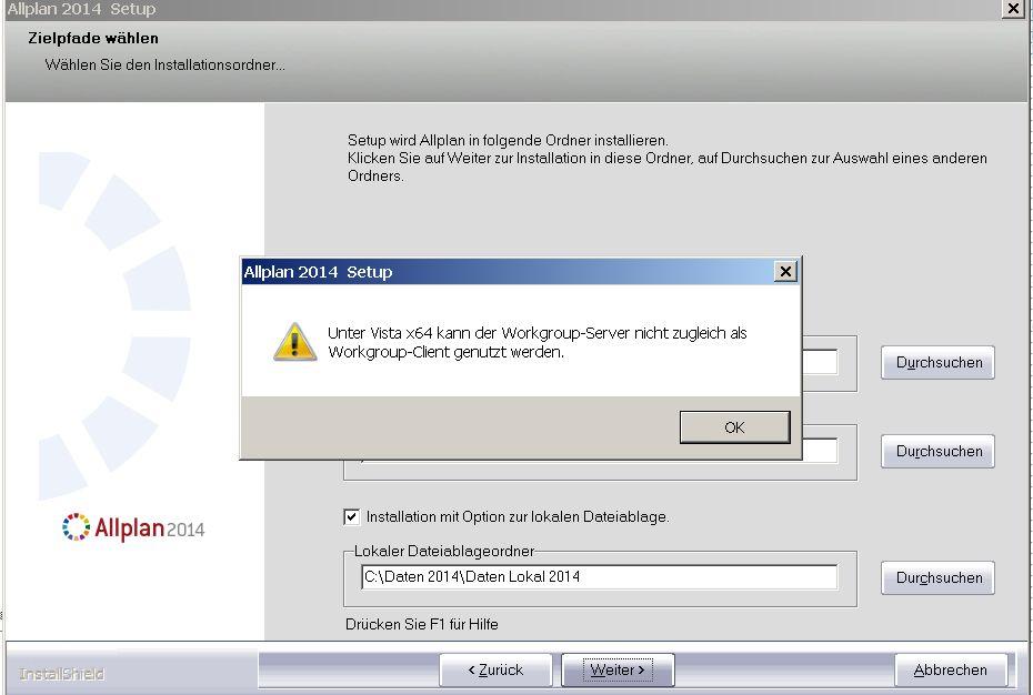 Allplan 2014 Workgroup Manager und Windows Vista