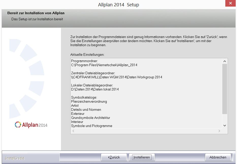 Allplan 2014 Workgroup Manager: Check Datenpfade Allplan Installation