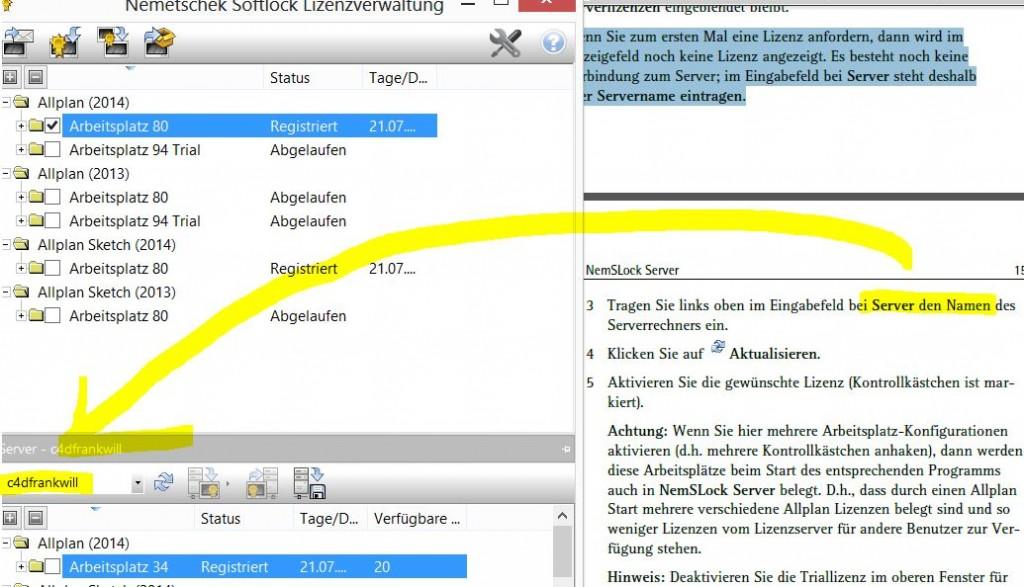 NemSLock-Lizenzserver Nemetschek Allplan: Client Servername eintragen
