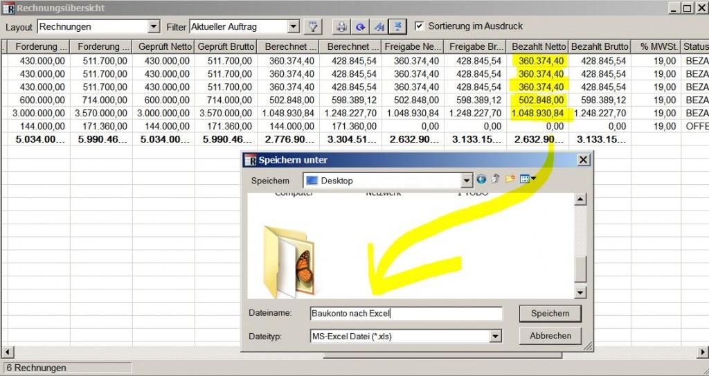 Baukonto Excel Export