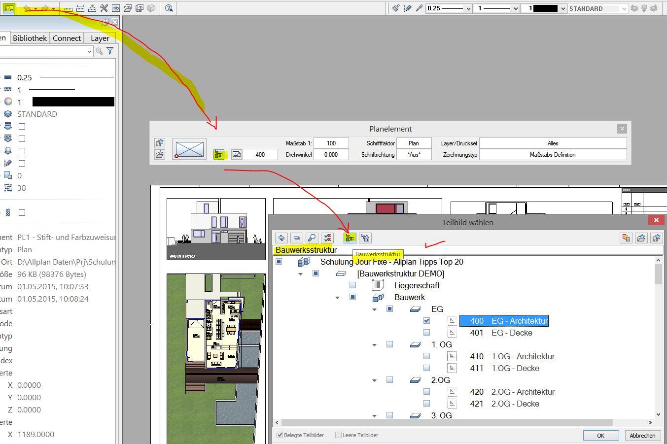 Zeichnungsstruktur aus Planbereich