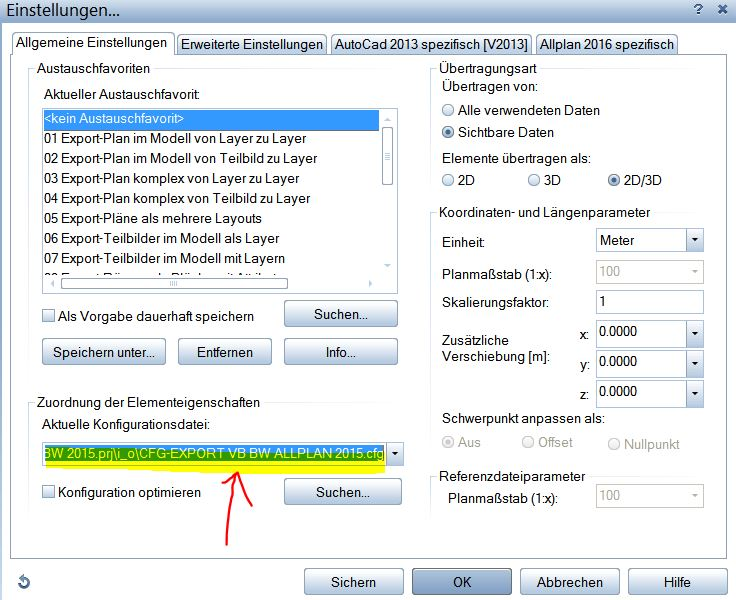 Allplan Räume Export Konfiguration cfg