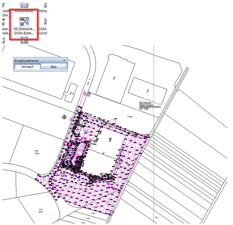 Abbildung 4: Es werden Geländepunkte aus den Elementverbindungen der DWG-Zeichnung erzeugt