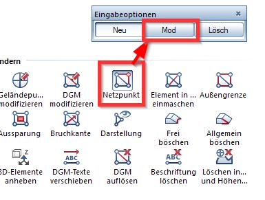 Abbildung 6: Netzpunkt modifizieren ermöglicht die komplette Verschiebung des DGM auch in Z-Richtung auf Höhe der gewünschten Ebene des Gebäudes