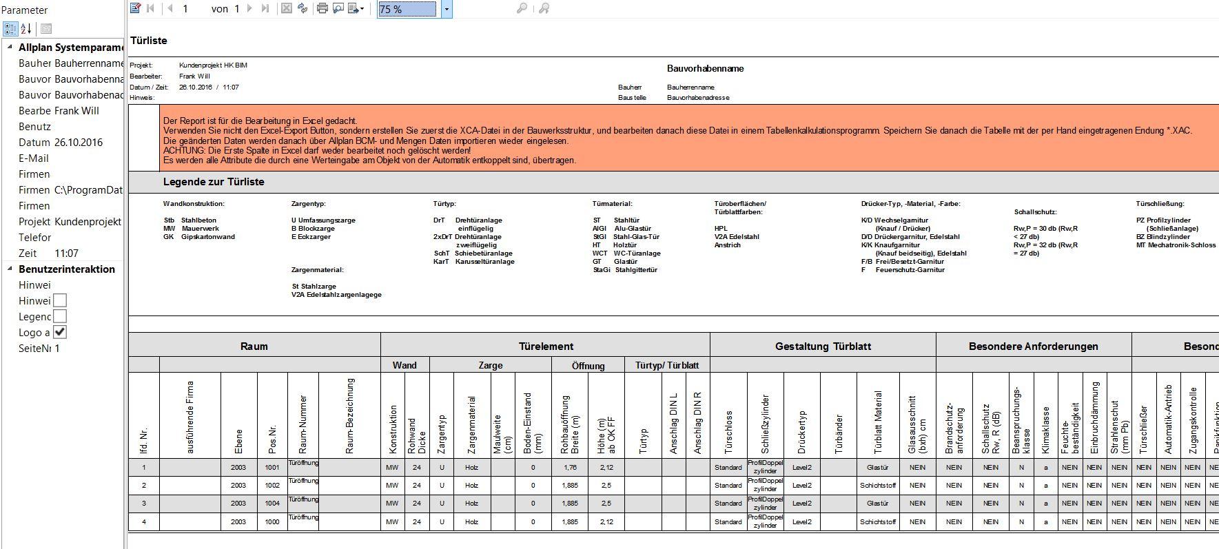 Türlisten Excel Anbindung