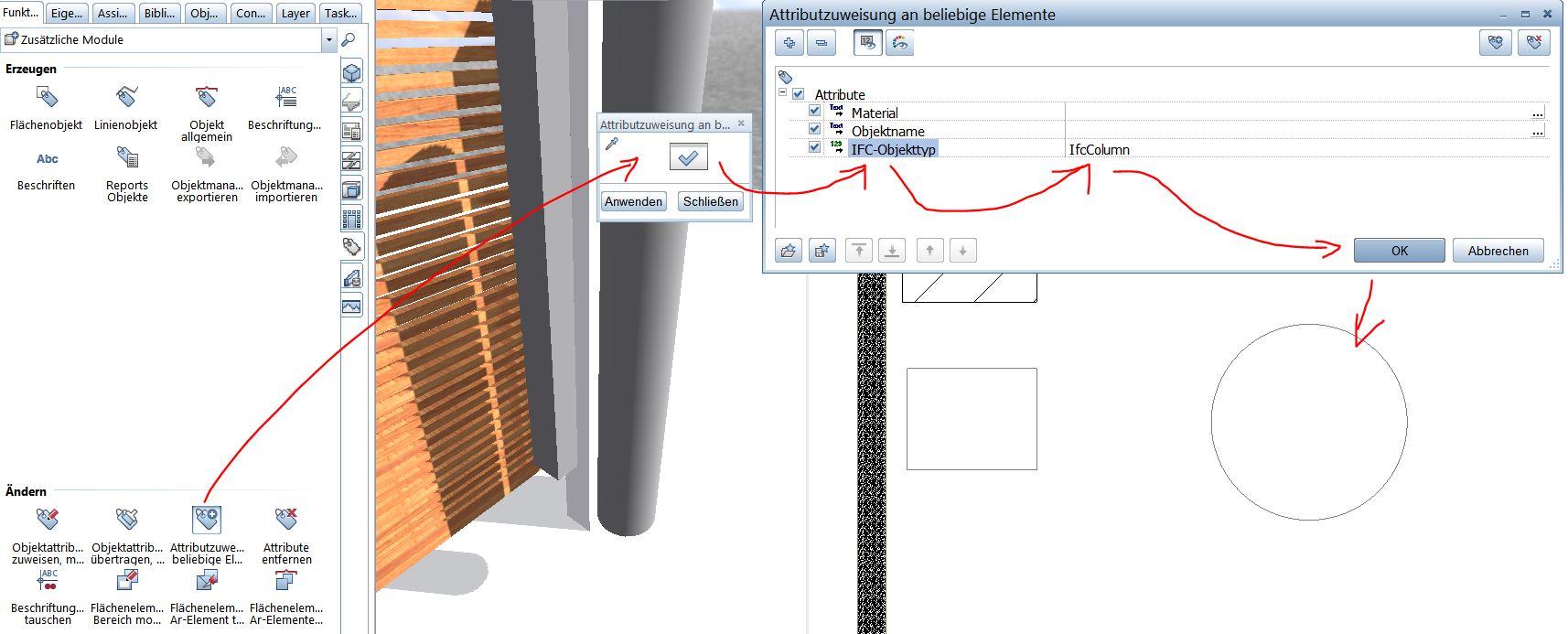 IFC Objekttyp Quader Column Attributzuweisung